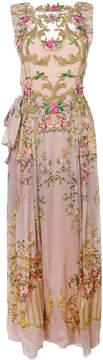 Alberta Ferretti floral embroidered pleated dress