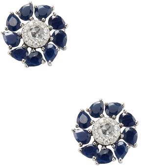 Artisan Women's 18K White Gold Floral Sapphire Stud Earrings