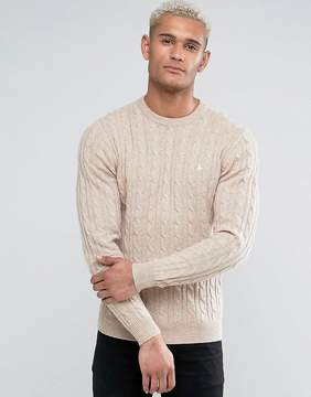 Jack Wills Marlow Merino Cable Knit Crew Neck Sweater In Oatmeal