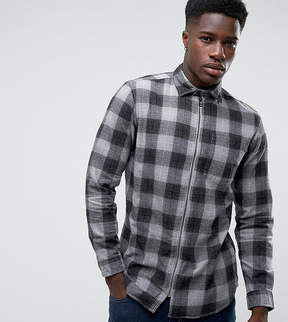 Jack and Jones Originals Overshirt in Regular Fit Check with Zip Through