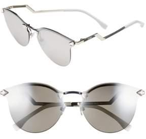 Women's Fendi 60Mm Retro Sunglasses - Palladium/ Silver Mirror