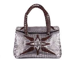 Roberto Cavalli Metallic Silver Calfskin Leather Cross Body Bag