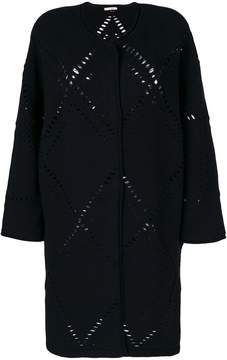 Mantu perforated knitted cardi-coat