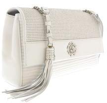 Roberto Cavalli White Quilted Studded Leather Large Shoulder Bag