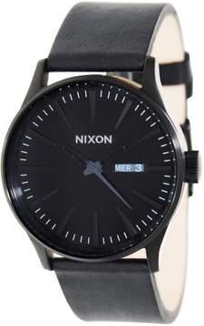 Nixon Men's Sentry Leather A105001 Black Leather Quartz Fashion Watch