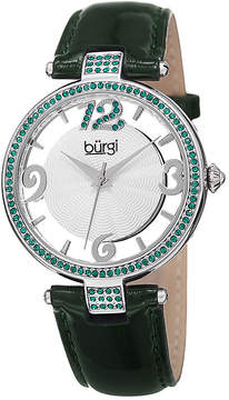 Burgi Womens Green and Silver Tone Strap Watch