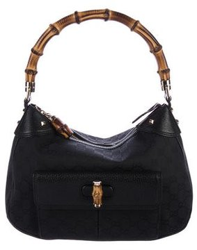 Gucci Bamboo GG Canvas Hobo - BLACK - STYLE