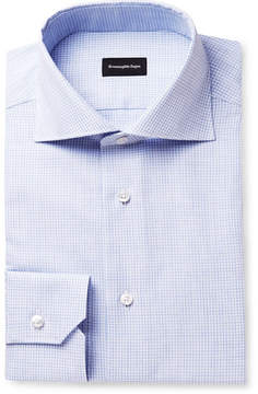 Ermenegildo Zegna Blue Slim-Fit Cutaway-Collar Checked Cotton Shirt