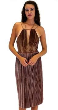 Ark & Co Taupe To Me Velvet Dress