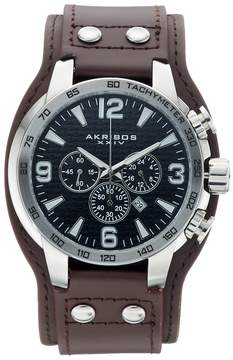 Akribos XXIV Men's Leather Chronograph Watch - AK727SSB