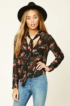 Forever 21 Floral Tie-Neck Top