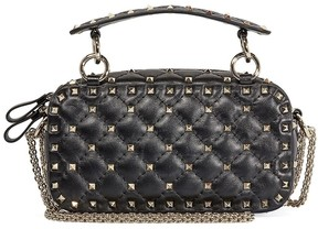Valentino Rockstud Spike Leather Camera Bag- Black