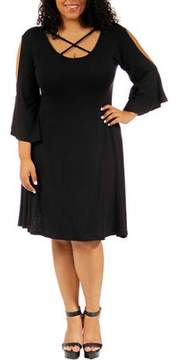 24/7 Comfort Apparel Women's Plus-Size Abstract Neck Split-Sleeve Dress