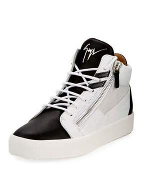 Giuseppe Zanotti Men's Mid-Top Two-Tone Platform Sneakers, White/Black