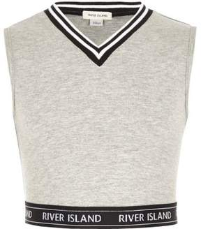 River Island Girls grey tipped sleeveless crop top