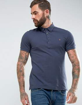 Farah Merriweather Slim Fit Pique Polo Shirt in Navy