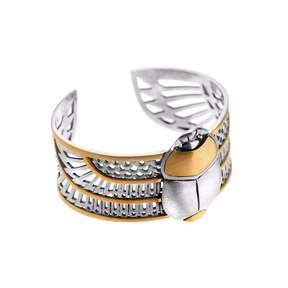 Azza Fahmy Sterling Silver & 18 Carat Yellow Gold Winged Scarab Cuff Bangle