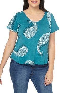 Evans Plus Size Women's Evan Paisley Short Sleeve Shirt