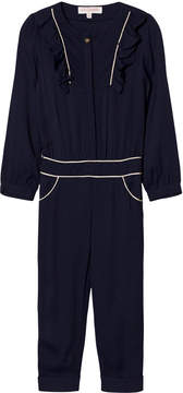 Lili Gaufrette Navy and Gold Frill Front Jumpsuit
