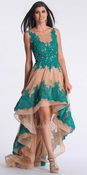 Dave and Johnny Ruffled Skirt Hi Low Prom Dress