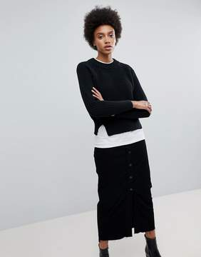 Dr. Denim Cropped Knit Sweater