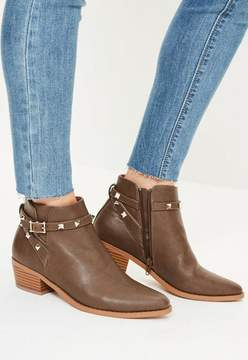 Missguided Brown Studded Strappy Western Boots