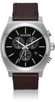Nixon Time Teller Chronograph Leather Strap Watch