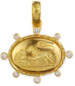 Elizabeth Locke 19k Gold Eros & Lion Pendant with Diamonds