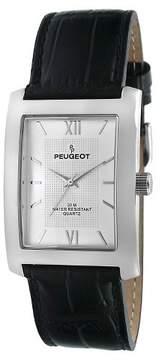 Peugeot Watches Men's Rectangular Leather Strap Watch - Black