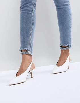 Carvela Amy White Point Leather Kitten Heels
