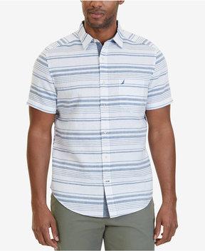 Nautica Men's Classic-Fit Linen-Blend Stripe Short-Sleeve Shirt