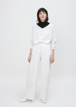 Aalto White Front Pleats Jean