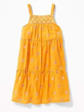 Old Navy Crochet-Yoke Slub-Weave Sundress for Girls