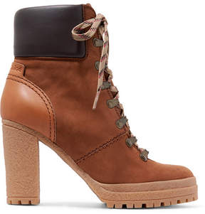 See by Chloe Leather-trimmed Nubuck Ankle Boots - Tan