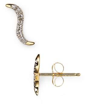 Adina Pavé Wave Stud Earrings