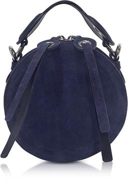 Carven Orsay Navy Blue Suede Round Crossbody Bag