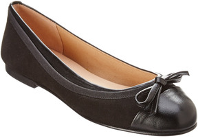 French Sole Brandy Leather & Suede Flat
