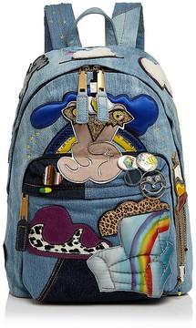 Marc Jacobs Julie Verhoeven Patched Denim Backpack - DENIM/GOLD - STYLE