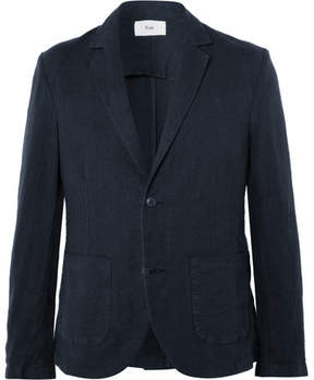 Folk Navy Slim-Fit Linen And Cotton-Blend Blazer