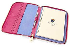 Aspinal of London A5 Zipped Padfolio In Raspberry Lizard Pale Blue Suede