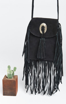 Pamela V ~ Suede Tassel Shoulder Bag ~ Black
