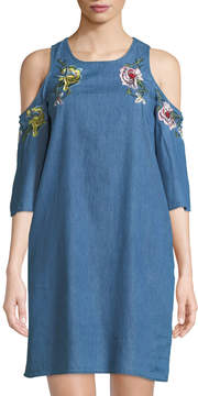 Dex Cold-Shoulder Embroidered Chambray Mini Dress