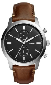 Fossil Men's Townsman Chronograph Leather Strap Watch, 44Mm