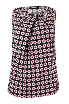 Nine West Women's Pleated Cutout Patterned Jersey Top (XS, Pink Lady Multi)