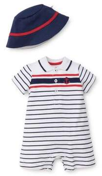 Little Me Baby Boy's Two-Piece Cotton Romper and Hat Set
