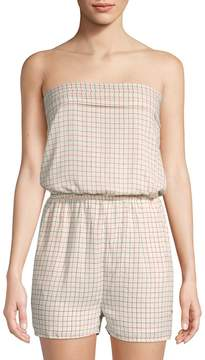 Collective Concepts Women's Grid-Print Strapless Romper