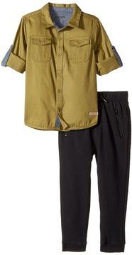 Hudson Two-Piece Woven Button Down Shirt Fleece Jogger Boy's Active Sets