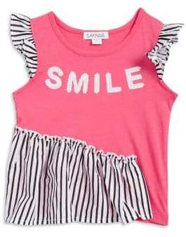 Flapdoodles Little Girl's Ruffle Smile Top