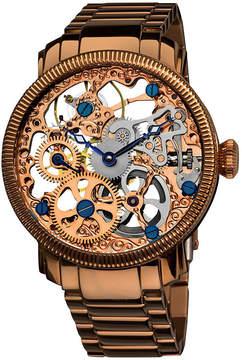Akribos XXIV Akribos Manual Wind Skeleton Dial Rose Gold-Tone Stainless Steel Men's Watch