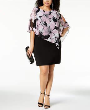 Connected Plus Size Floral-Print Capelet Dress
